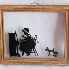 Vintage Wood Framed Silhouette Girl Playing Piano