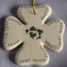 Liffey Ireland Hanging Painted Ceramic  Four Leaf Clover NWOT
