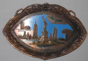 Vintage New York City NYC Enameled Metal Souvenir Tray Japan