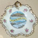 Vintage Atlantic City Gold Trim Flower Scalloped Dish