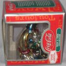 Mont Wards Coke Santa with Penguin on Moon Ornament MIB