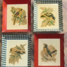Vintage Six Inch Metal Trays Bird Designs Scalloped Edges Set of Four