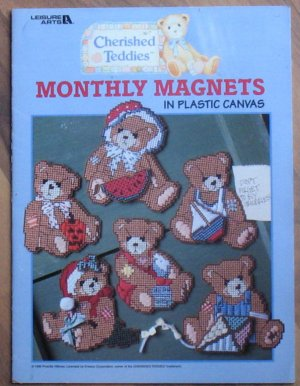 Leisure Arts Cherished Teddies Monthly Magnets Plastic Canvas Booklet