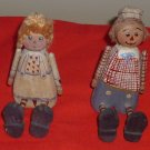 Pair of Wooden Country Raggedy Ann and Andy Ornaments Shelf Sitters