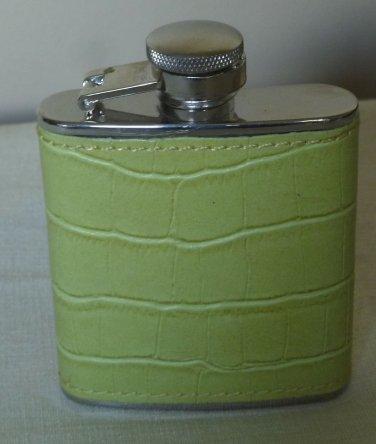 Ladies 2.5 Ounce Purse Flask Light Green Alligator Look New