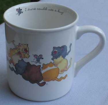 Rim Shots Hallmark Cup Cats Surrounding Mouse Need a Hug