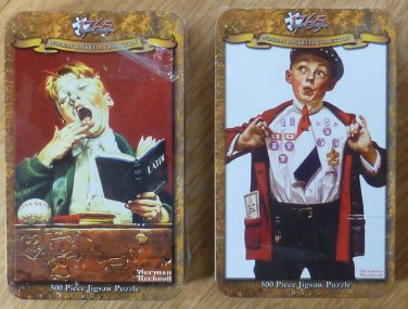 Two Norman Rockwell 1765 500 piece Jigsaw Puzzles in Tins NIB