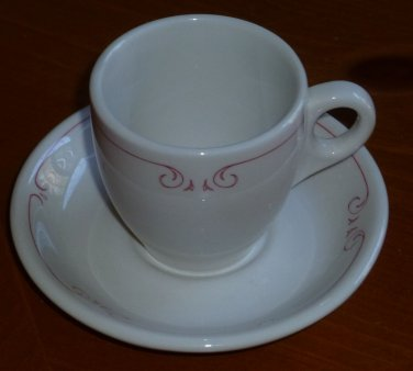 Vintage Syracuse China Demitasse Cup and Saucer Pink Rim Design