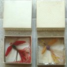 Rare Unusual 1940's Hug-Bug Feather Moth Jewelry Pins Orig Box Elsbeth Novelty