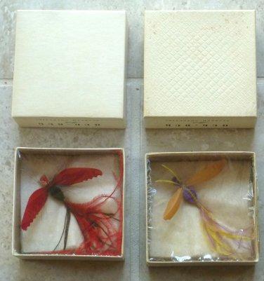 Rare Unusual 1940's Hug-Bug Feather Moth Jewelry Pins Orig Box Elsbeth Novelty