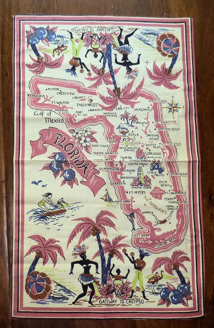 Vintage Cotton Florida Map Tea Towel Gateway to Calypso