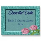 Set of 100 Aqua Floral Save The Date Wedding POSTCARDS kjsweddingshop