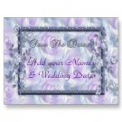 Set of 50 Purple Flowers Save The Date Wedding POSTCARDS kjsweddingshop
