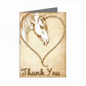 Set of 8 WESTERN Wedding THANK YOU CARDS Envelopes Included kjsweddingshop