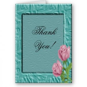 Set of 8 Aqua and Roses Wedding THANK YOU CARDS Envelopes Included kjsweddingshop