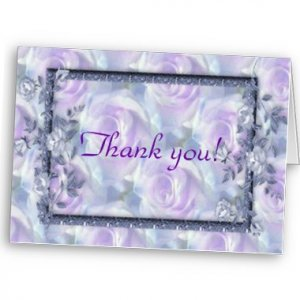 Set of 8 Purple Flowers Wedding THANK YOU CARDS Envelopes Included kjsweddingshop