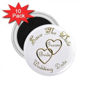Set of 10 Gold Hearts Save The Date Wedding ROUND MAGNETS 2.25 INCH kjsweddingshop