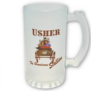 Usher Gift Western Theme Frosted Beer Mug Stein Glass 16 oz. kjsweddingshop