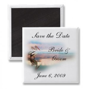 Set of 5 BEACH Save The Date Wedding SQUARE MAGNETS kjsweddingshop