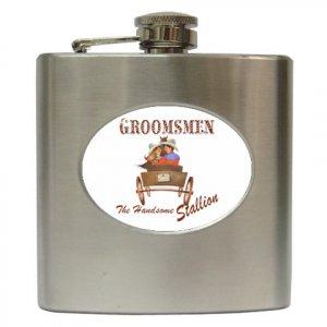 Hip Flask Groomsmen Gift Western Theme  6 oz. 18571459 kjsweddingshop