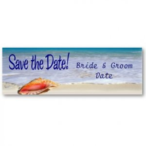 Set of 20 BEACH Save The Date Wedding Skinny Cards kjsweddingshop