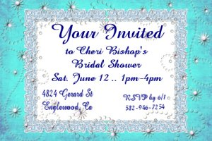 Blue Flowers Personalized Bridal Shower Party Invitations 4x6 inch Postcards Pack of 10 kjswed