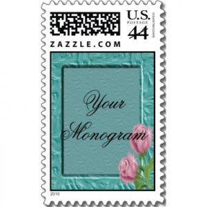 Wedding Matching POSTAGE STAMPS Aqua, rose Theme sheet of 20, 44 cent stamps kjsweddingshop