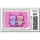 Bridal Shower Matching Love Robot Theme POSTAGE STAMPS sheet of 20, 44 cent stamps kjsweddingshop