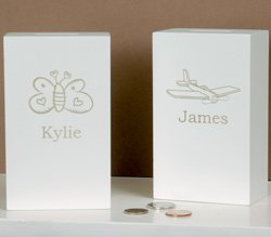 White Wooden Bank With Name  1149
