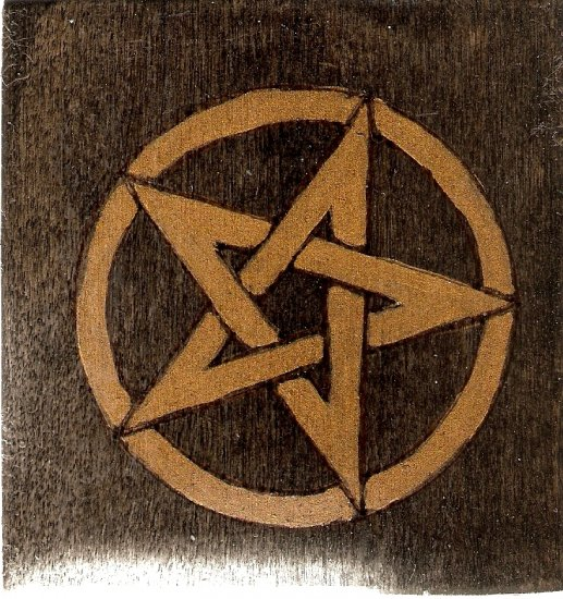 Handmade Wood Pentacle Altar Tile