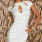 Vintage Style White Embossed Dress with Cut-Outs