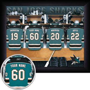 San Jose Sharks Framed Custom Jersey Print With Your Name