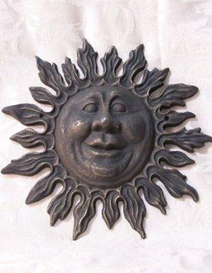 Cast Iron Sun Face Wall Sculpture