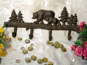 Cast Iron Bears Coat and Hat Rack