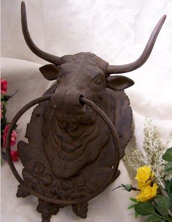 Cast Iron Bull Towel Holder or Hat Rack