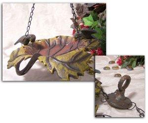Cast Iron Hanging Leaf Bird Feeder