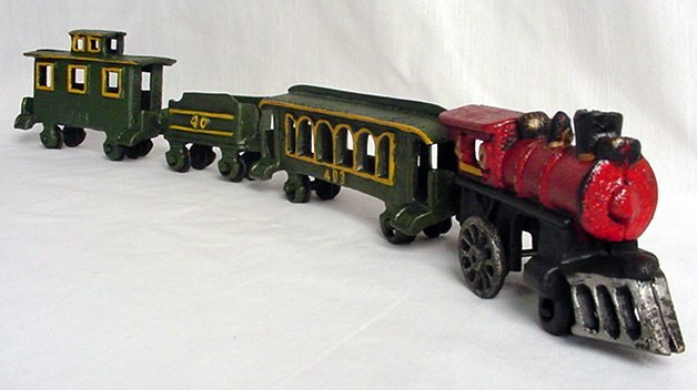 Cast Iron Four Piece Train Set