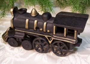Cast Iron Black & Gold Locomotive
