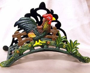 Cast Iron Rooster Garden Hose Holder