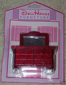 Dollhouse Furniture Horizonal Dresser With Mirror NIP