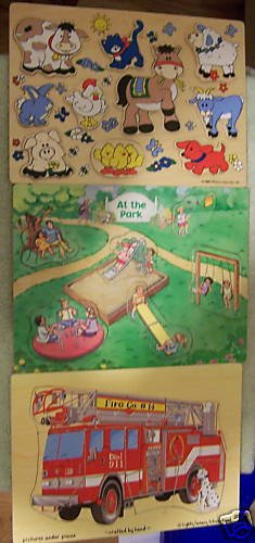Set of 3 Wooden Puzzles - Fire truck, Park, & Animals