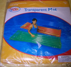 Inflatable Transparent Pool Mat Float Orange - NIP