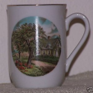 Currier & Ives Coffee Cup Autumn Fall Scene