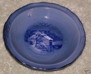 "Currier & Ives Saucer Bowl Winter Scene 3 1/2"""