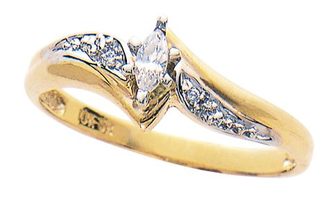 10K Gold Marquis Diamond Ring
