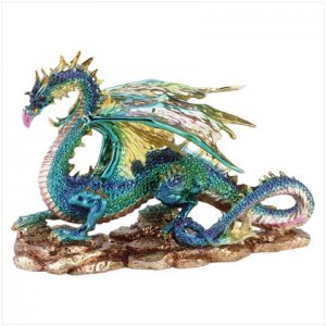 METALLIC FINISH DRAGON ON ROCK