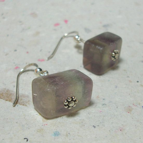 Fluorite Chunk on Sterling Earrings - ES168