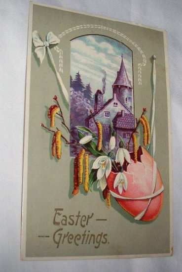 Purple House and red egg Easter postcard E2