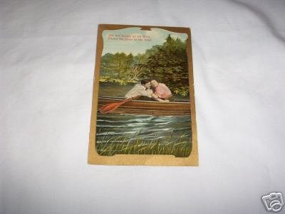 Couple in Boat German Romance postcard R-3