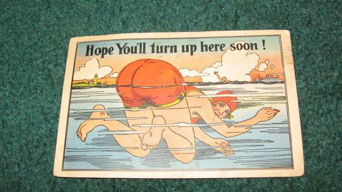Hope You'll Turn Up Here Soon Swimming Comical Postcard